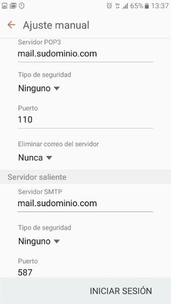 datos de usuario correo saliente