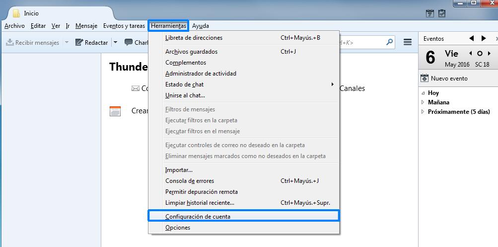 Menú herramientas / Configuración de cuenta