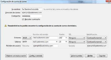 Datos dominio IMAP