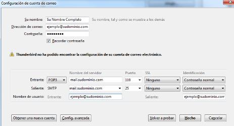 Datos dominio POP3