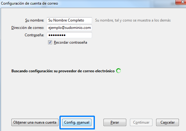 Seleccione configuración manual