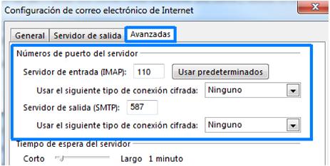 Configuración avanzada POP3