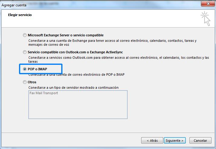 Seleccionar POP o IMAP