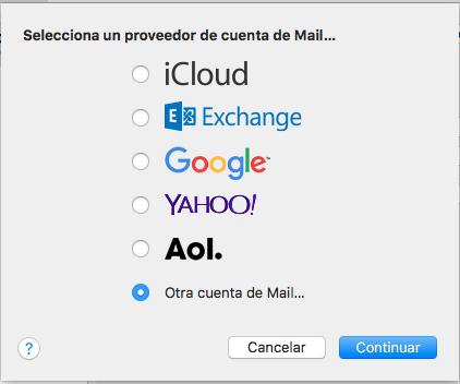 Seleccionar otra cuenta de correo