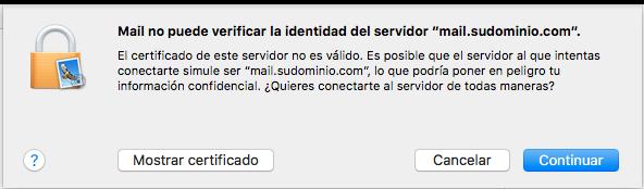 Imposible verificar identidad del servidor