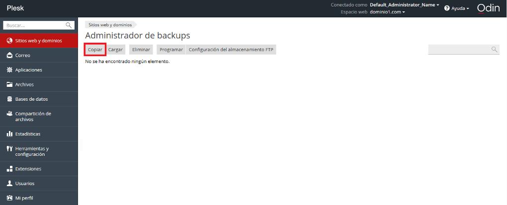 Administrador de backups > Copiar paso 2